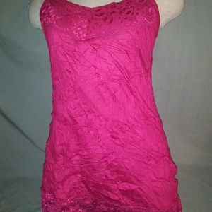 Maurices Crinkle Cut Cami. Small. Bright Dark Pink
